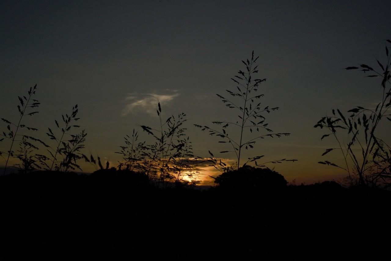 湧いてきた雲が夕陽に燃え上がる