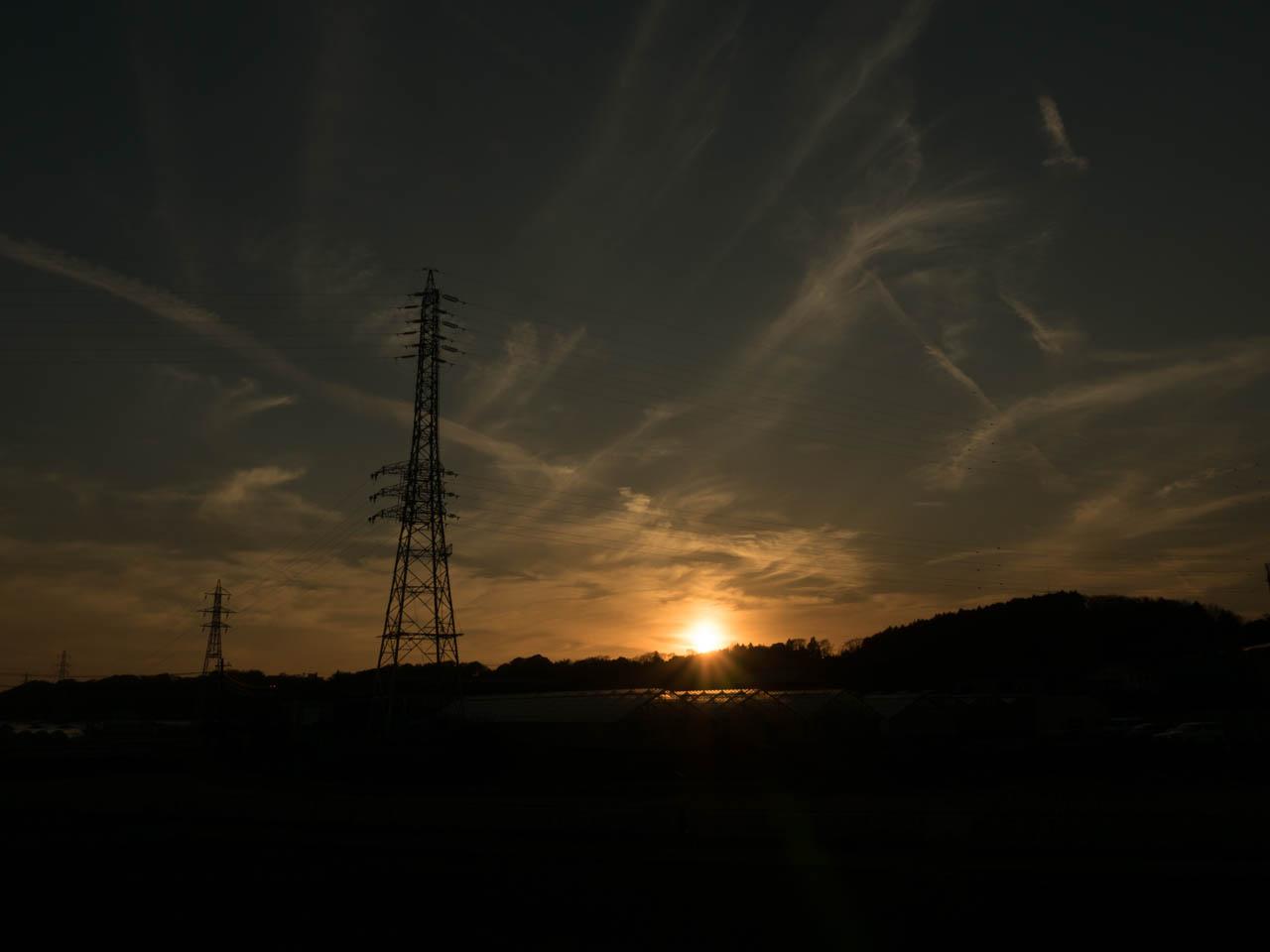 鉄塔ポイントで夕日を待つ