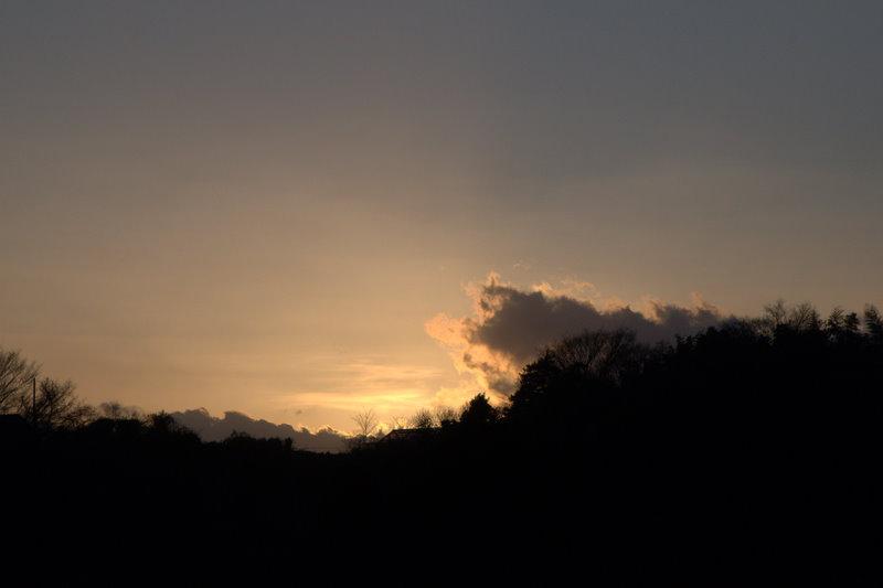 丘の上に見える夕景
