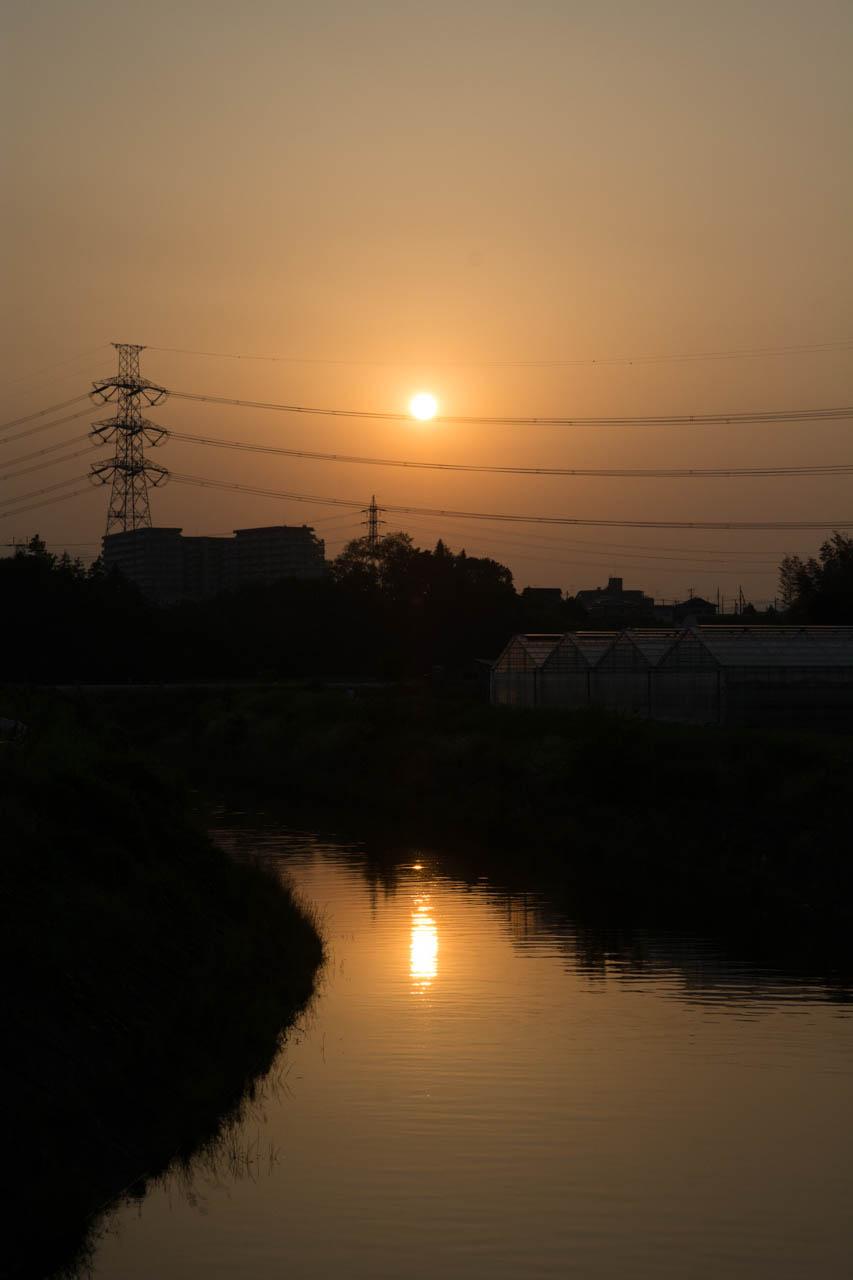 傾いてきた夕陽