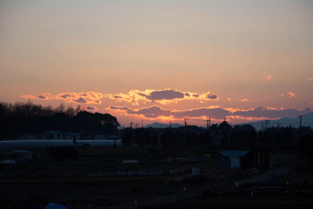 すっきり落ちた後の焼けた雲