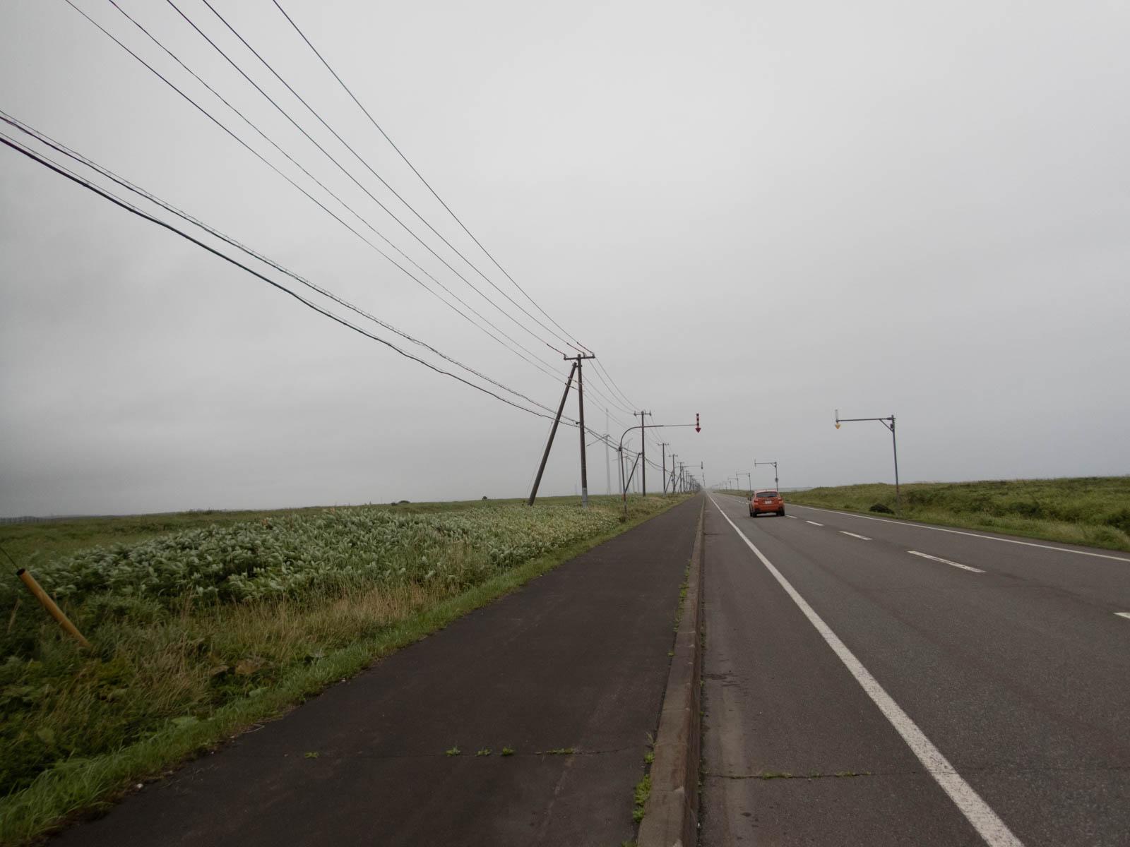 車道には広い路側帯が有り
